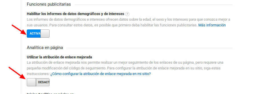 Habilitar datos demográficos e intereses Google Analytics