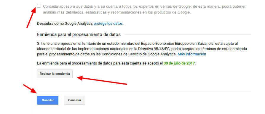Aceptación enmienda europea Google Analytics