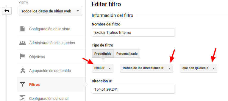 Excluir trafico interno por ip de Google Analytics