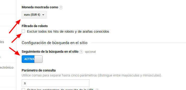 Seguimiento búsqueda Google Analytics