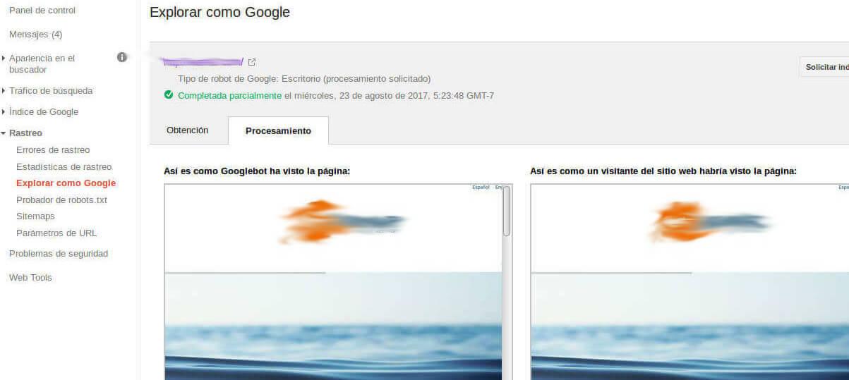Solicitud de indexación Google Console