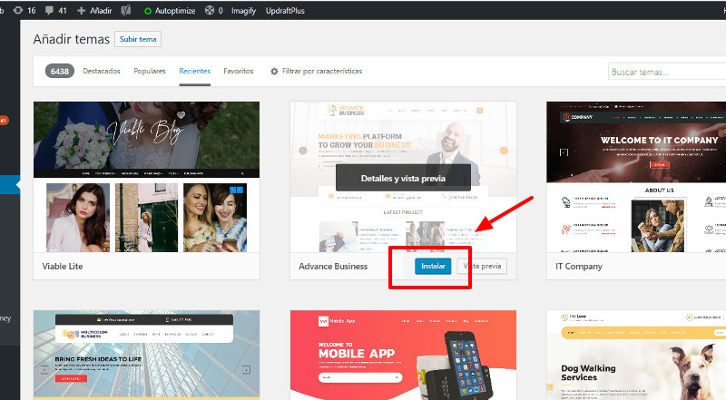 Instalar tema WordPress