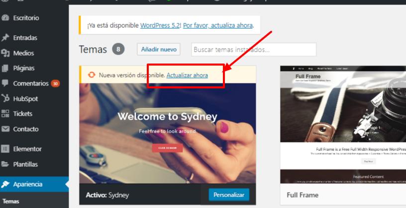 Actualizar WordPress Ahora
