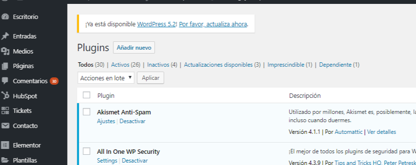 ACtualizar WordPress 5.2